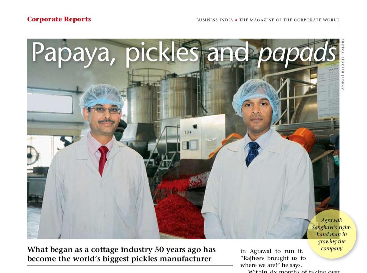 Papaya, pickles and papads Corp Report